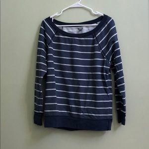 Aerie navy and gray striped crew neck sweatshirt